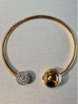Bracelet Acier - Jonc ouvert avec 1 boule métal et 1 boule strass