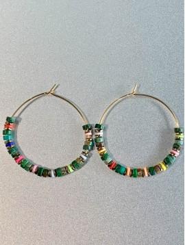 BO créoles Acier - Perles gommes/pierres/facettes et rondelles