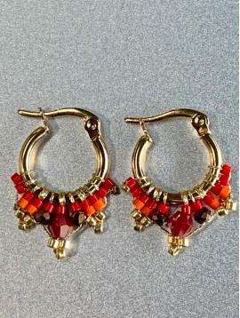 BO créoles Acier - Petites avec perles facettes