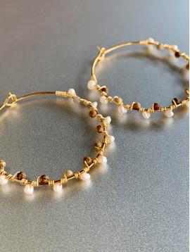 BO créoles Acier - Perles cultures/pierres et métal torsadé