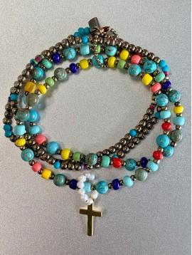 Bracelet Acier éla - 4 Rangs perles pierre/métal et croix