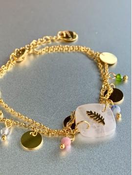 Bracelet Acier - 2 Rangs avec pierre et feuille métal/pastille et perl
