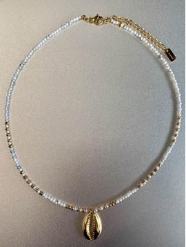 Collier Acier - Perles facette avec cauri en métal