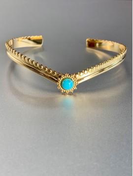 Bracelet Acier - Jonc en V avec pierre ronde sertie soleil