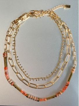 Collier Acier - 3 Rangs lamelles/gros maillons/perles pierres diverses