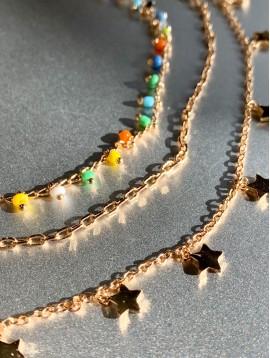 Collier Acier - 3 Rangs perles émail/chaine/étoiles
