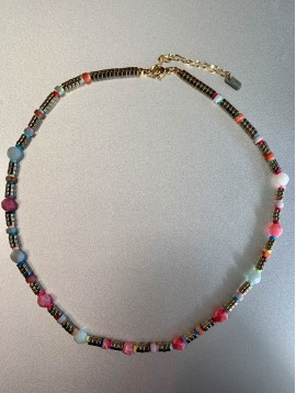 Collier Acier - Perles facettes/gomme et rondelles