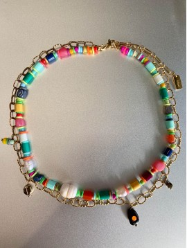 Collier Acier - 2 Rangs perles diverses/maillons avec 1 perle