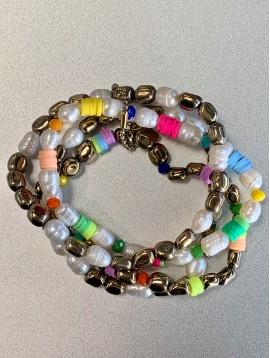 Bracelet Acier éla - Multirangs perles culture/gomme et métal