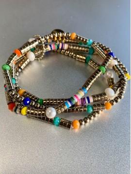 Bracelet Acier éla - 4 Rangs perles culture/gomme/métal/facettes