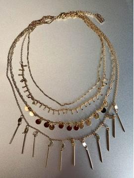 Collier Acier - 4 Rangs avec pastilles/chaine/lamelles/pendants