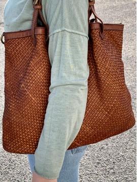 Sac cuir porté main/cabas cuir tressé