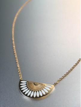 Collier Acier - Eventail avec couleur sur chaine fine