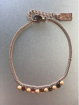 Bracelet Acier - Petites pastilles métal et couleurs sur chaine fine