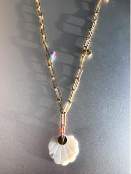 Collier Acier Long - Coquillage nacre sur gros maillons avec perles
