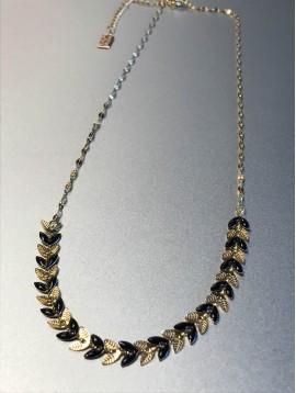 Collier Acier - Epis métal et émail sur chaine fine