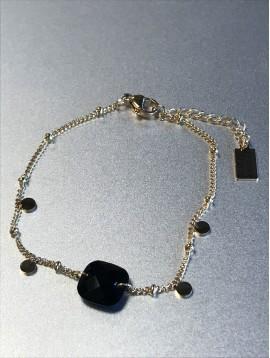 Bracelet Acier - Carré à facettes avec pastilles métal sur chaine fine