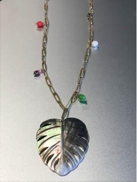 Collier Acier Long - Feuille nacre sur gros maillons striés avec perle