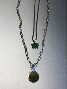 Collier Acier Long - 2 Rangs pastille avec points et étoile de mer