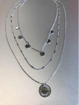 Collier Acier - 3 Rangs avec pastilles/chaine/pendentif motif