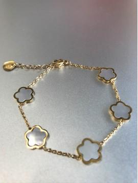 Bracelet Acier - 4 Trèfles sur chaine fine