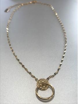 Collier Acier - Pastille façon écailles et anneau sur chaine fine