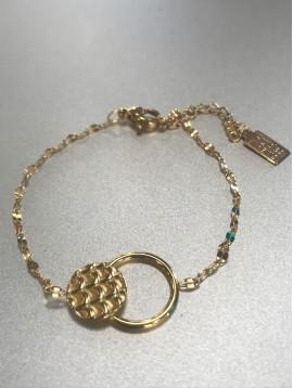 Bracelet Acier - Pastille façon écailles et anneaux sur chaine fine