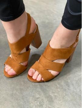 Sandales à talons peau de pêche ouvert sur les flancs