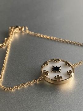 Bracelet Acier - Disque pierre sertie avec étoile sur chaine fine