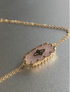 Bracelet Acier - Rectangle pierre sertie avec croix sur chaine fine