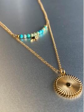 Collier Acier Long - 2 Rangs pastille soleil et étoile /perles pierre
