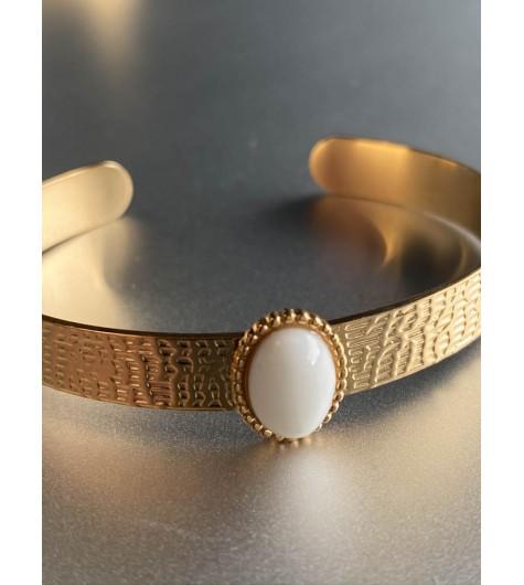 Bracelet Acier - Jonc ouvert style reptile avec pierre dessus