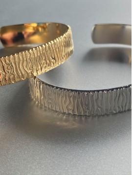 Bracelet Acier - Jonc ouvert style zébrure