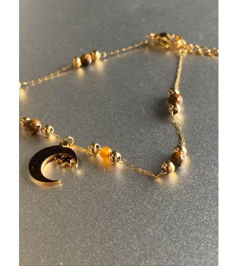 Bracelet Acier - Lune avec étoiles sur chaine fine avec perles pierres