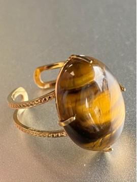 Bague Acier réglable - Grosse pierre avec griffes