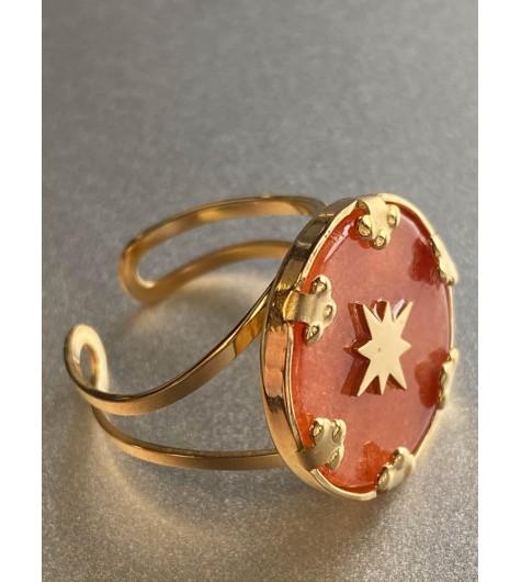 Bague Acier réglable - Disque pierre sertie avec étoile
