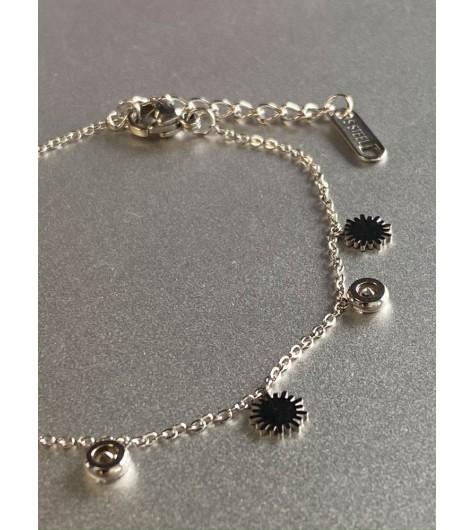 Bracelet Acier - Petits soleil et strass sur chaine fine