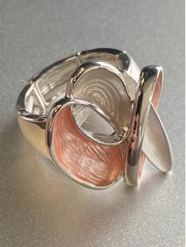 Bague éla - Formes diverses métal et peinture nacrée