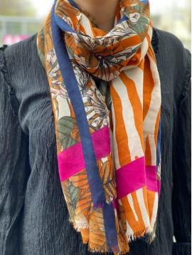 Foulard impr zébrure et fleurs avec bandes de couleurs