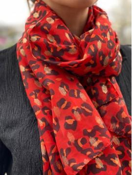 Echarpe léopard avec taches brillantes