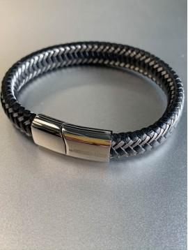 Bracelet Acier - Tresse cuir et acier