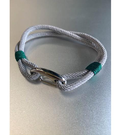 Bracelet Acier - Esprit marin avec cordon et mousqueton