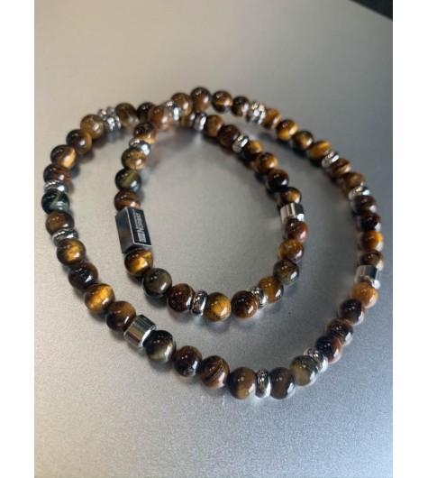 Bracelet Acier éla - Double tour perles en pierres naturelles