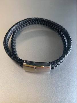 Bracelet Acier - Double rang tresse en cuir et perles pierres naturell