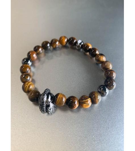 Bracelet Acier éla - Perles en pierres naturelles et perle strass dive