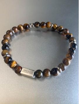 Bracelet Acier éla - Perles en pierres naturelles et métal