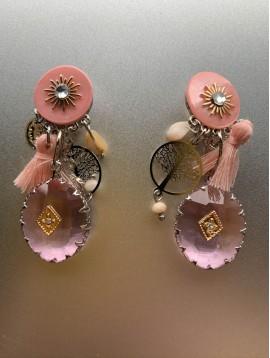 BO clips - Ovale translucide/pompon/arbre de vie