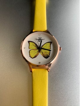Montre - Bracelet fin papillon au fond du cadran