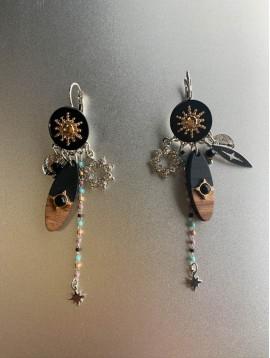 BO dormeuses - Goutte en bois/rosace/perles pendantes