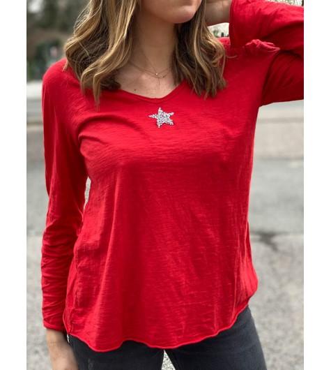 Tshirt manches longues uni avec étoile en strass